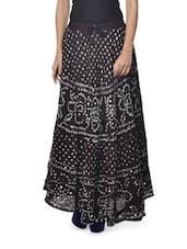 Ethnic Black Jaipuri Bandhej Long Skirt - Ruhaan's