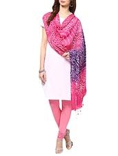 Pink &purple Cotton Mirror Work  Dupatta - By