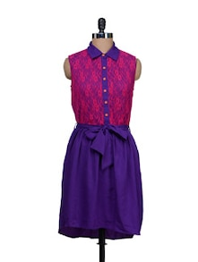 Colour Blocked Lace Dress - HERMOSEAR