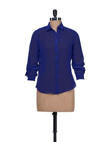 Sheer Royal Blue Shirt - HERMOSEAR