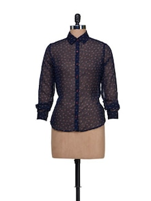 Printed Navy Sheer Shirt - HERMOSEAR