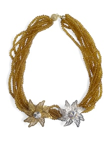 Embellished Beads Neckpiece In Gold And Silver - Schwof