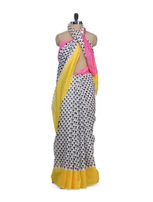Elegant Black & White Printed Saree - Awesome