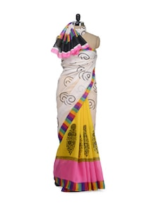 Chic Printed Saree With Multicolored Border - Awesome