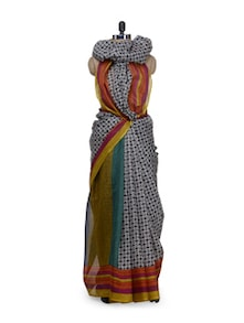 Multicolored Printed Saree With Striped Border - Awesome