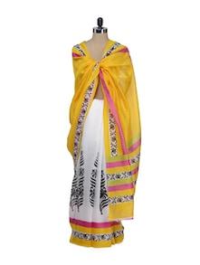 Elegant White & Yellow Printed Saree - Awesome