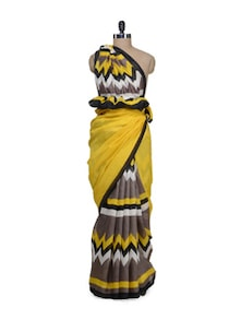 Yellow & Black Designer Printed Saree - Awesome