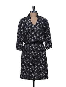 Floral Print Black Dress - @ 499