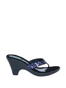 Black Block Heel Sandals With Purple Sequin Work - CATWALK