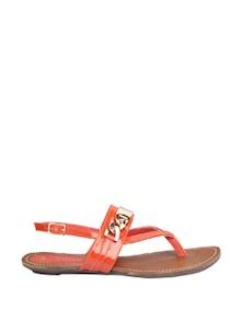 Orange Strappy Sandals With Golden Metal Work - CATWALK