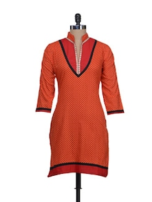 Red & Orange Printed Kurta - Vani