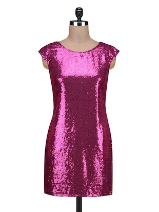 Magenta Sequined Poly Georgette Mini Dress