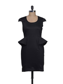 Elegant Black Peplum Dress - Reen's
