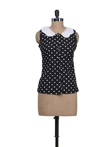 Black & White Heart Print Top - Reen's