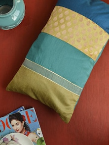Silk Cushion Cover With Brocade Patch - KIWAAD