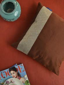 Elegant Brown Silk Cushion Cover - KIWAAD 57095