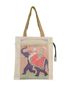 Maharaja On Elephant Jute Bag - The House Of Tara