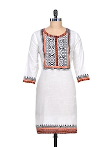 Soothing Off White Kurta With A Dash Of Print - Global Desi