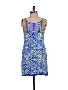 Printed Tunic In Vibrant Blue - Global Desi