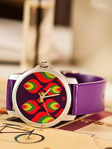 Multi-coloured Leaf Motif Women's Watch - India Circus