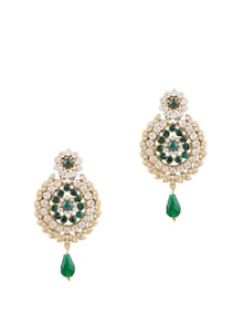 Artistic Earrings In Emerald And White - Bazarvilla