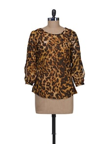 Animal Print Top With Slit Sleeves - Thegudlook