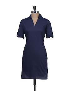 Solid Navy Collared Kurta - Meira