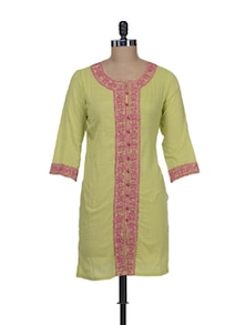 Green & Pink Embroidered Kurti - Meira