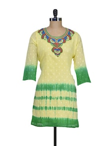 Lemon Yellow Kurti With Embroidered Neckline - ASEESA