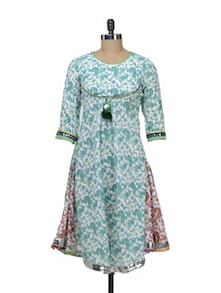 White & Green Printed Flared Kurta - Free Living