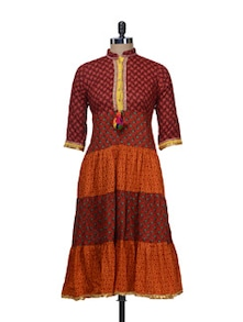 Traditional Red & Orange Printed Kurta - Free Living