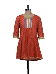 Ethnic Orange Kurti With Colorful Yoke - Free Living