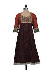 Black & Orange Printed Long Kurta - Free Living