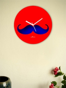 Blue And Red Moustache Wall Clock - Zeeshaan