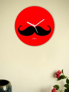 Black And Red Moustache Wall Clock - Zeeshaan