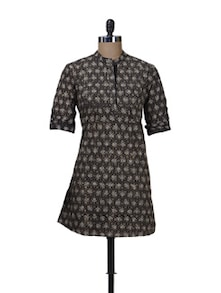 Black, Grey Printed Kurta - Nanni Creations