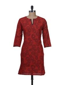 Bright Red Printed Cotton Kurta - Nanni Creations