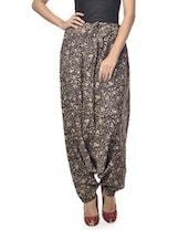 Floral Printed Black Harem Pants - Ashita