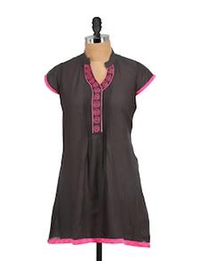 Black & Pink Pleated Kurta - Vani