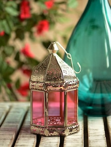 Silver Lantern With Tinted Pink Glass