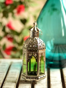 Designer Silver Lantern With Tinted Green Glass - HANSA