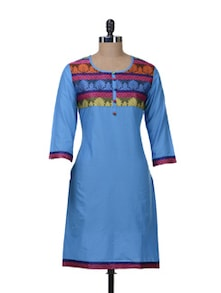 Ethnic Blue Kurta With Brocade Yoke - Paislei