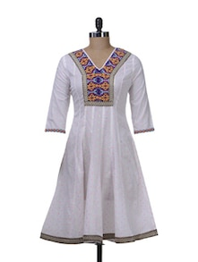 White Flared Kurta With Embroidered Yoke - Paislei
