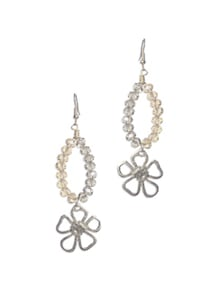Crystal Beads Floral Drop Earrings - Blend Fashion Accessories