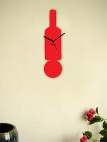 Red Bat And Ball Wall Clock - Zeeshaan