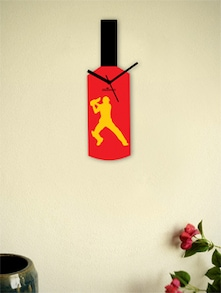 Yellow And Red Cricketer's Bat Wall Clock - Zeeshaan