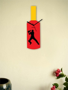 Black And Red Cricketer's Bat Wall Clock - Zeeshaan