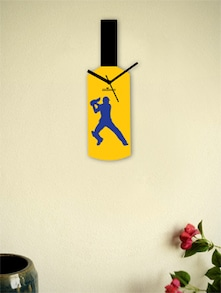 Yellow And Blue Cricket Winning Shot Wall Clock - Zeeshaan