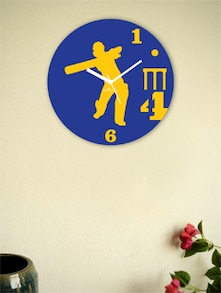 Blue And Yellow Cricketing Sixer Shot Wall Clock - Zeeshaan