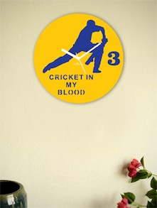 Yellow And Blue Cricket's Front Foot Wall Clock - Zeeshaan